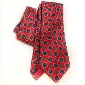 Vintage Aquascutum Red Blue Geometric Silk Tie